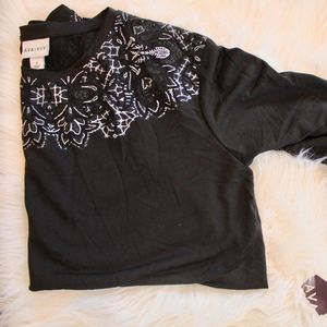 Ava and Viv Black and Silver Long Sleeve Blouse X